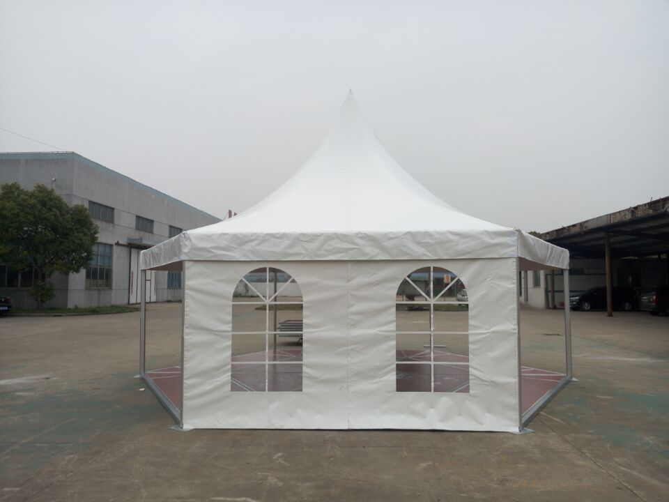 4m Side length Hexagonal Pagoda Tent with Al. Frame Wooden Floor